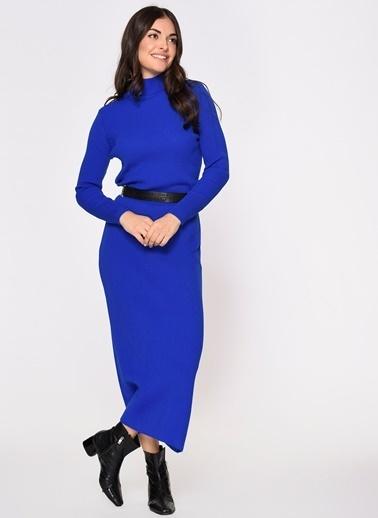 Loves You Yarım Balıkçı Triko Elbise Saks